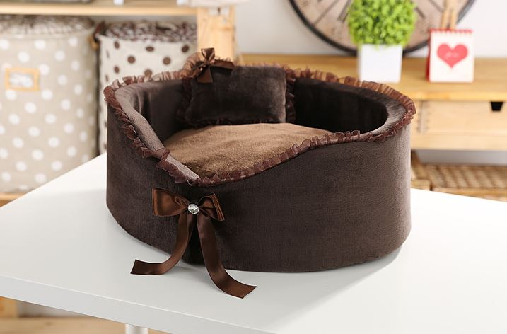 Brown Dog Bed With Bow