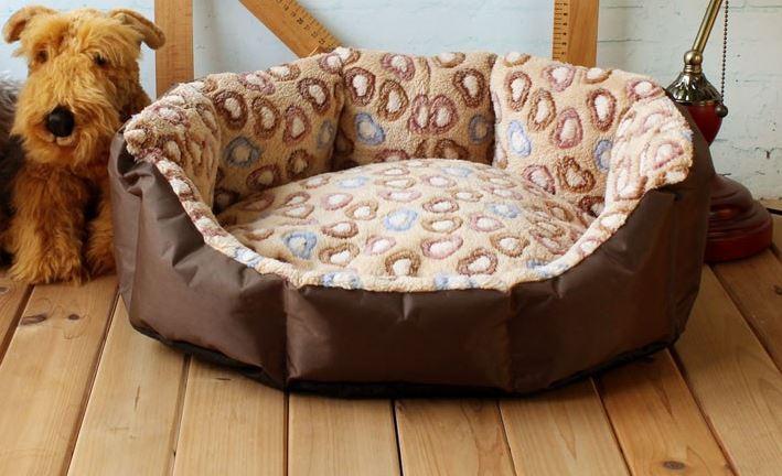Brown-Beige Heart Printed Dog Bed