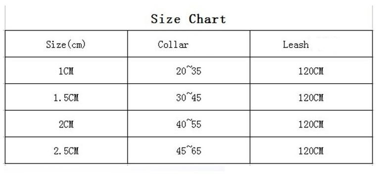 colorful_dog_collar_with_leash_Size_chart