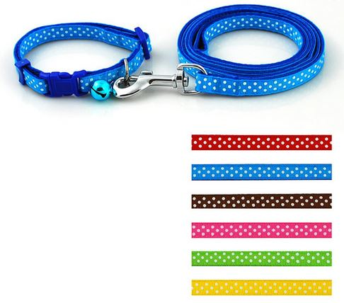 colorful_polka_dot_collar_with_leash_blue