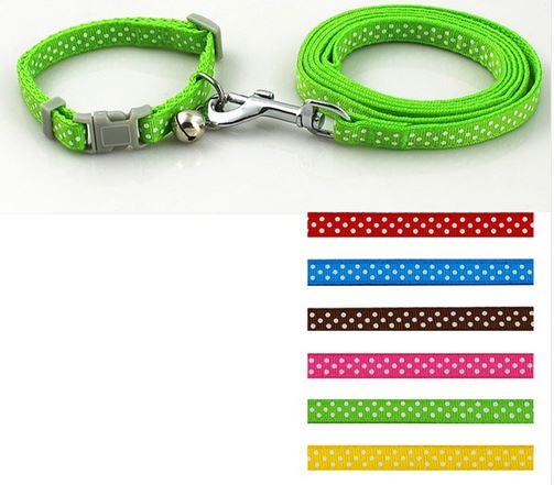 colorful_polka_dot_collar_with_leash_green