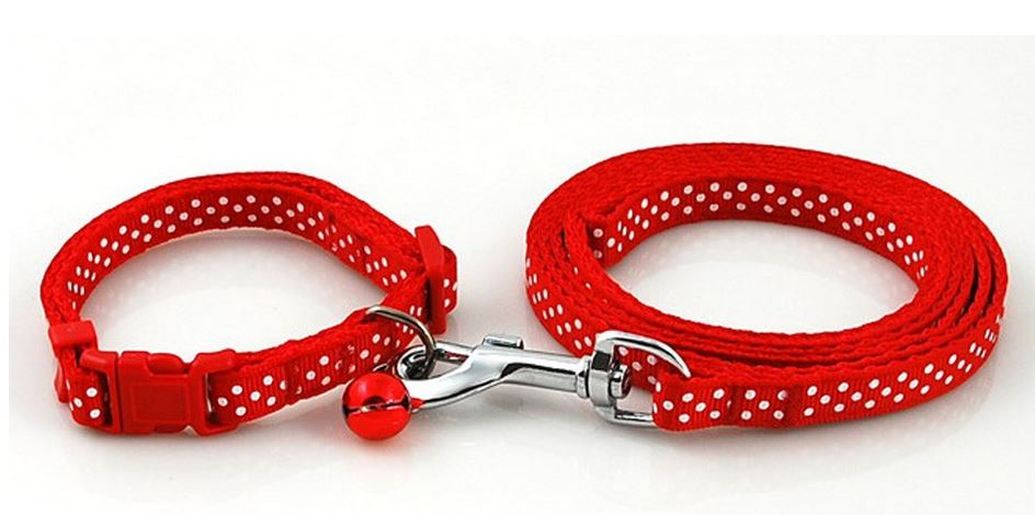 colorful_polka_dot_collar_with_leash_red