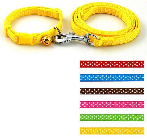 colorful_polka_dot_collar_with_leash_yellow