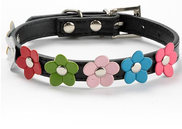 flower_dog_collar_black